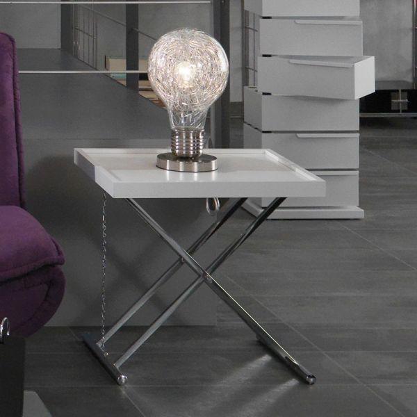 Tavolino trasformabile pieghevole sabadell laterale divano in mdf bianco moderno ebay - Tavolino divano moderno ...