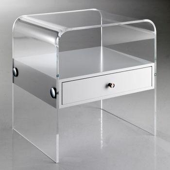 Comodino moderno Almada in plexiglass trasparente 40 x 33 cm