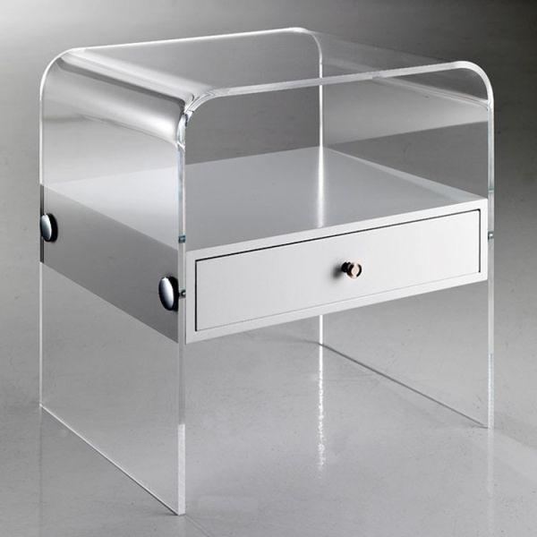 Comodino moderno in plexiglass trasparente per camera da letto Almada