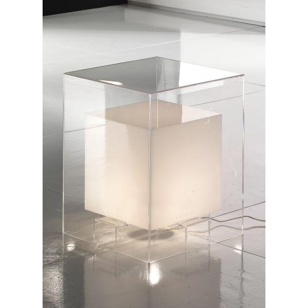 Cubo luminoso comodino in plexiglass trasparente 40 x 40 cm Licht