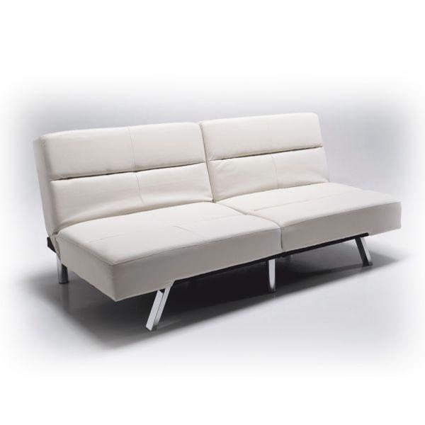 Divano letto ecopelle economico bianco o nero 175 cm olmedo - Divano bianco ecopelle ...
