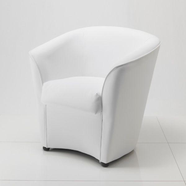 Poltrona per sala attesa in ecopelle bianca nera Noriko