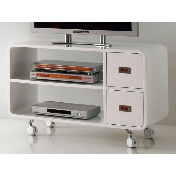 Mobile porta TV BENNET in legno bianco su ruote 95 cm CARRELLO ...