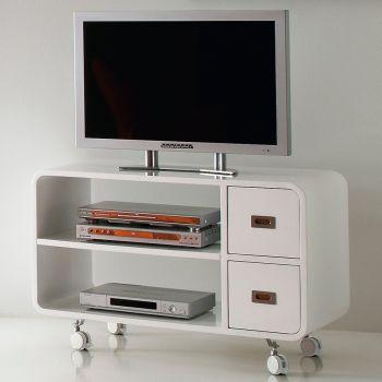 Mobile porta TV Bennett in legno bianco su ruote 95 cm