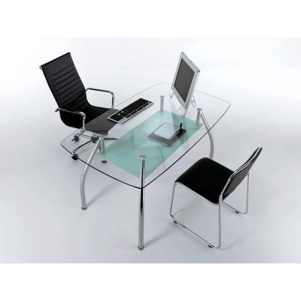Tavolo scrivania da ufficio bertram design moderno in for Scrivanie in vetro e acciaio