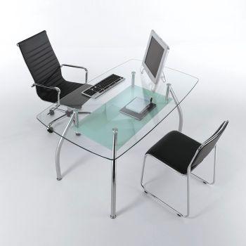 Tavolo scrivania da ufficio Bertram in vetro e acciaio 145 cm