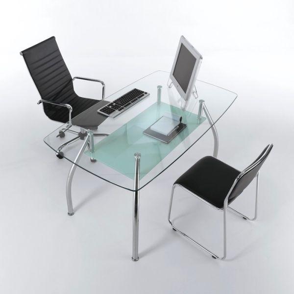 Tavolo scrivania da ufficio moderno in vetro e acciaio 145 cm Bertram