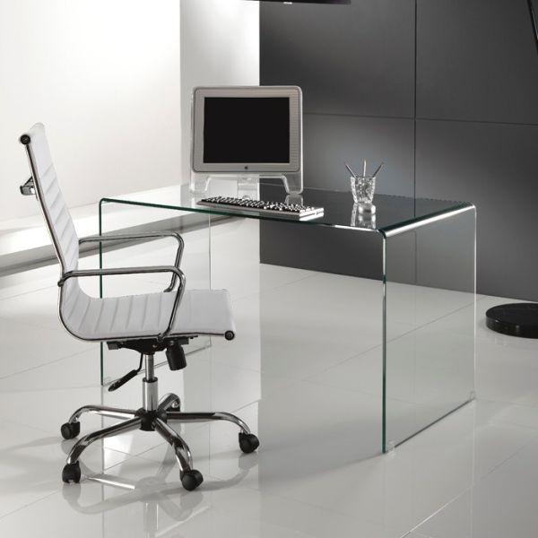 Scrivania in vetro curvato Brennan per ufficio 125 cm