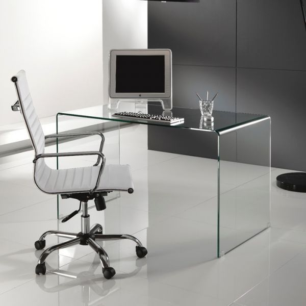Scrivania brennan per ufficio in vetro curvato design for Scrivania ufficio vetro