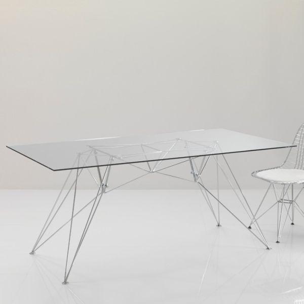 Tavolo per ufficio Konrad scrivania in vetro 180 x 90 cm