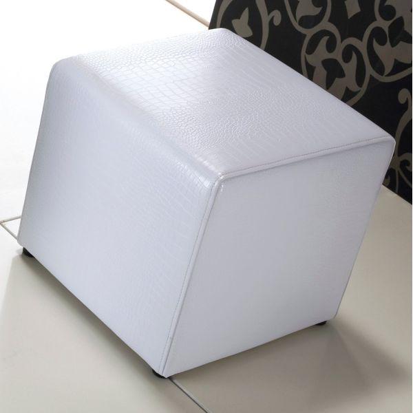 Pouff cubo Bastian in ecopelle bianco nero argento 40 x 40 cm