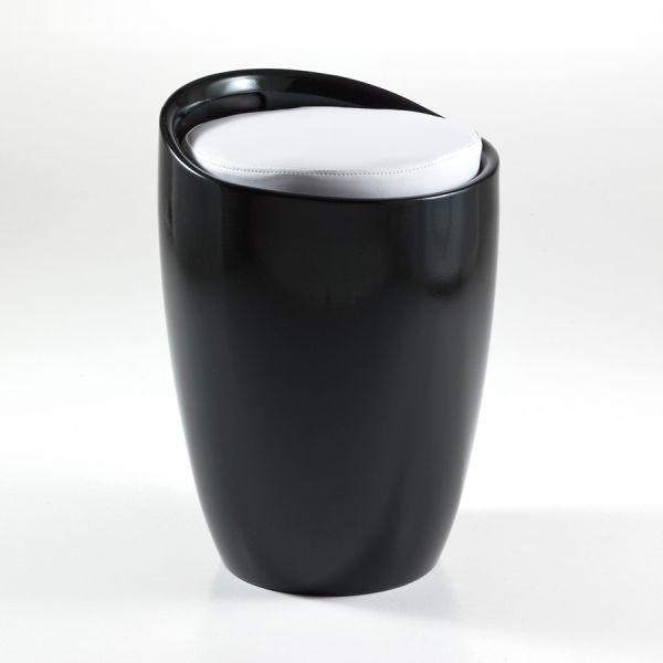 Pouff sgabello Lyndon con contenitore in PVC bianco o nero