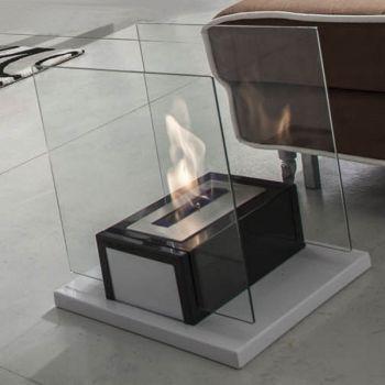 Manny caminetto a bioetanolo in vetro e acciaio 40 x 40 cm