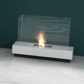Marvin caminetto bioetanolo in acciaio bianco 80 cm