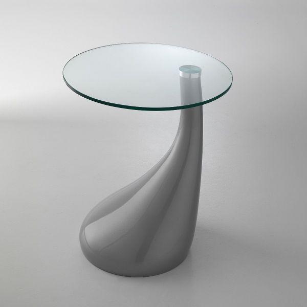 Tavolino da salotto lato divano in resina e vetro Tobin