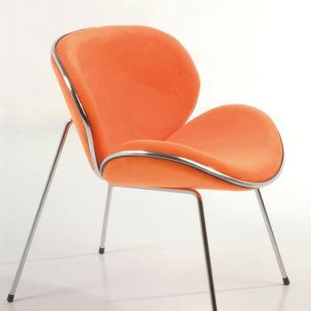Poltroncina Annabel da camera in tessuto bianco arancio viola