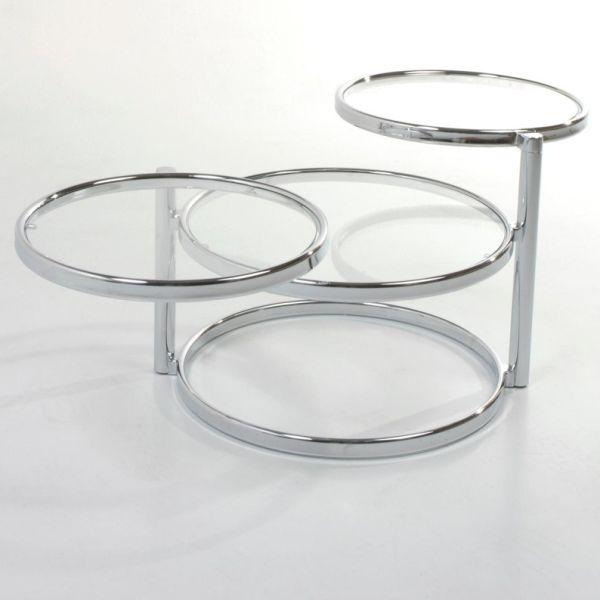 Tavolino da salotto Tucker a 3 ripiani in metallo e vetro