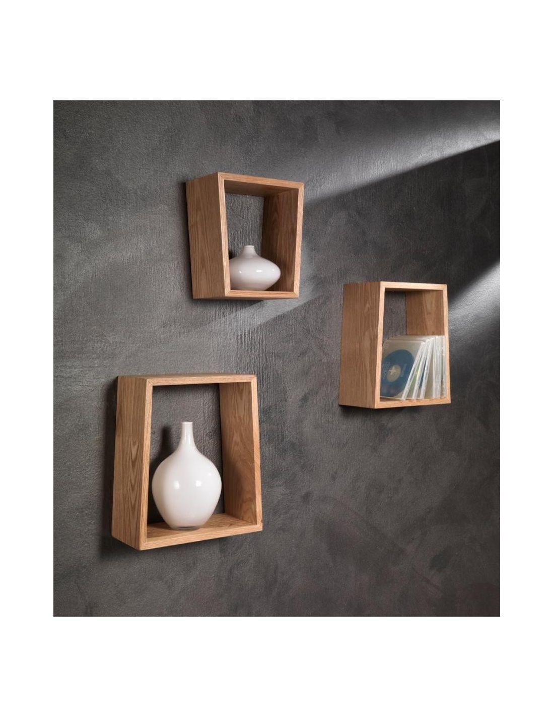 Set tre mensole brenda a parete in legno rovere for Mensole legno naturale