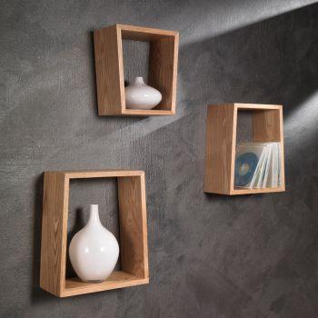 Set tre mensole Brenda a parete in legno rovere