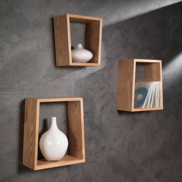 Set tre mensole a parete moderne in legno rovere Brenda