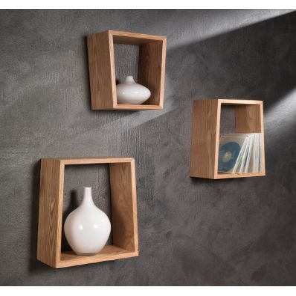 Set tre mensole da parete moderne in legno rovere Brenda