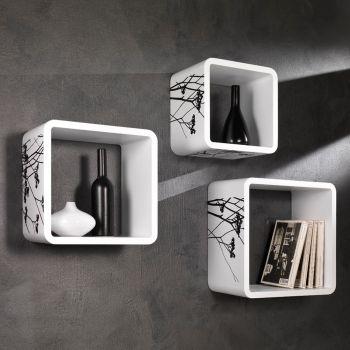 Mensole da parete Konnor in legno MDF laccato bianco