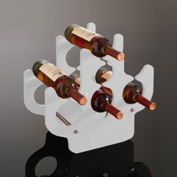 Cantinetta vino Leroi in legno laccato bianco 7 bottiglie