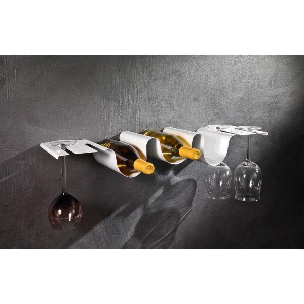 Cantinetta a parete Morris mensola portabottiglie e bicchieri
