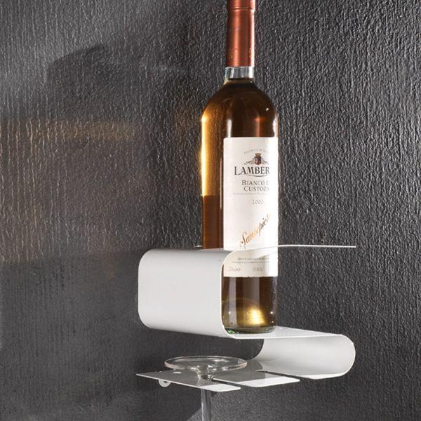 Portabottiglie vino da parete per una bottiglia e due bicchieri Oscar
