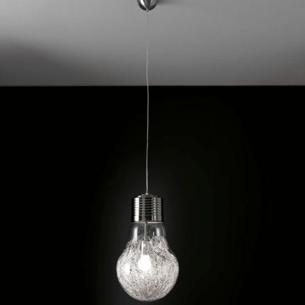Lampadario sospeso Gwenda design a forma di lampadina