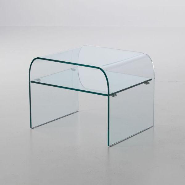 Comodino Ruben in vetro curvato temperato con ripiano