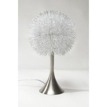 Lampada da tavolo Jarod in fili di alluminio intrecciati diametro 25 cm