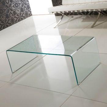 Tavolino Emerald in vetro curvato trasparente a ponte 110 cm