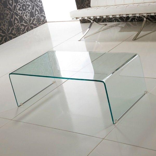 Tavolino Emerald in vetro curvato trasparente a ponte
