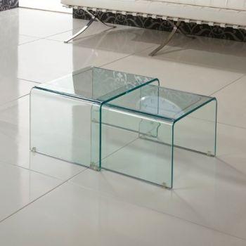 Coppia tavolini Isador sovrapponibili in vetro curvato trasparente