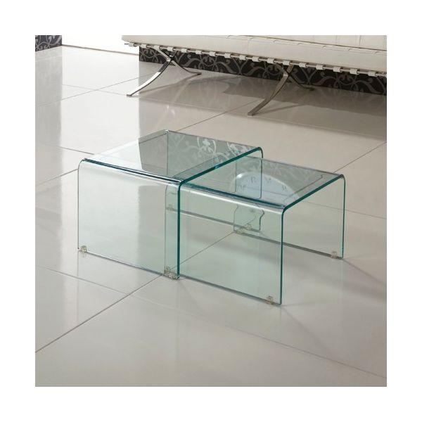 Coppia tavolini salotto sovrapponibili in vetro curvato trasparente Isador