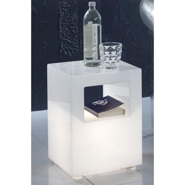 Tavolino luminoso in plexiglass bianco per soggiorno o camera Kenton