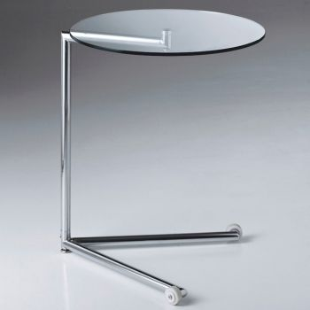 Tavolino Farran laterale divano in vetro su ruote
