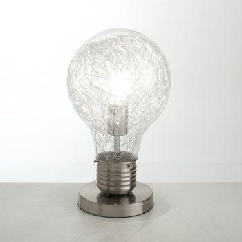 Lampada da tavolo Gwenda a forma di lampadina in vetro