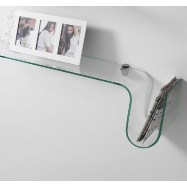 Mensola 90 cm Albert in vetro curvato trasparente