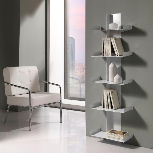 Libreria a colonna da parete in metallo bianco 160 cm Karyn