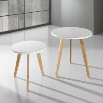 Coppia tavolini Larkin bassi da caffe' in legno MDF bianco