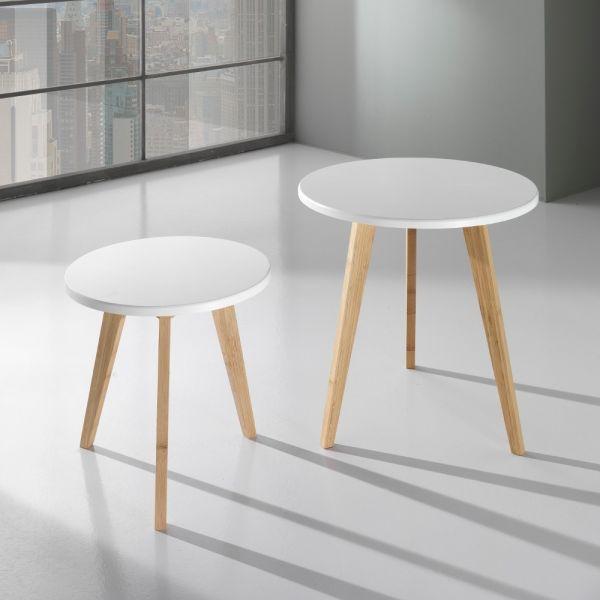 Coppia tavolini bassi da caffè in legno MDF bianco Larkin