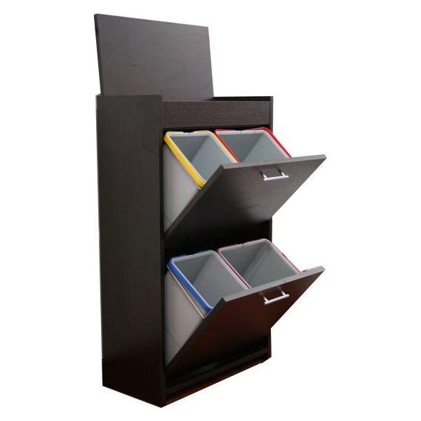 Mobile raccolta differenziata gea in legno 4 secchi pattumiera - Mobile raccolta differenziata 4 secchi ...