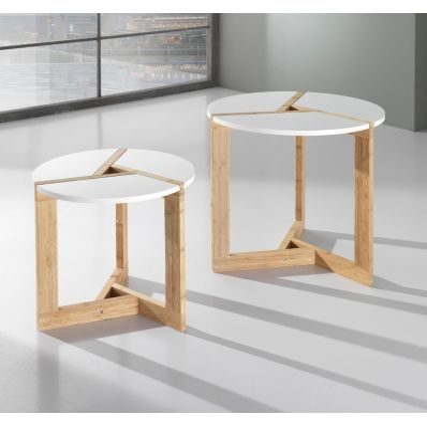 Coppia tavolini Benjy per soggiorno in legno laccato bianco