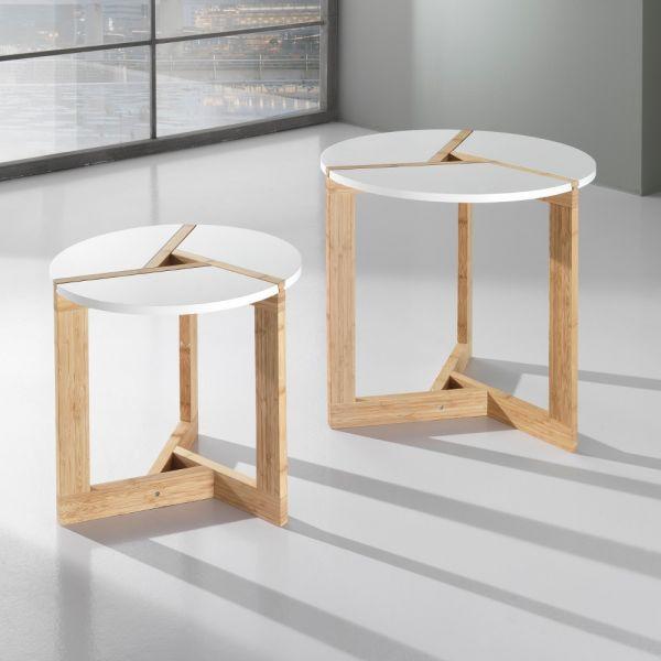 Coppia tavolini stile nordico benjy per soggiorno in legno laccato ...