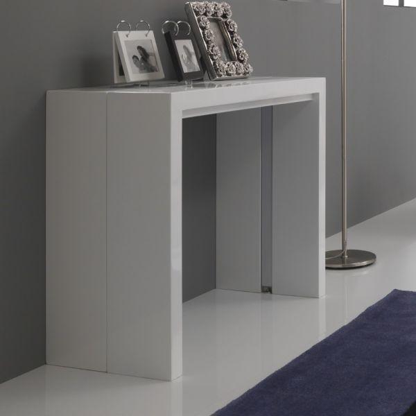Tavolo consolle Vernon allungabile in legno MDF bianco lucido