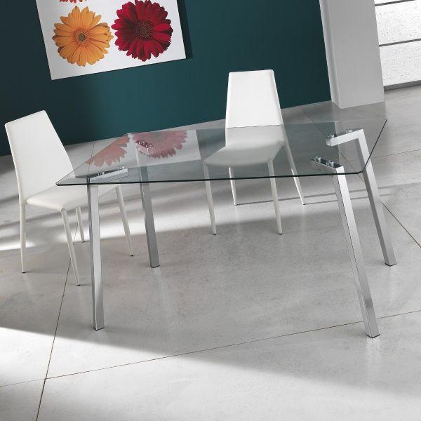 Tavolo scrivania Bertrand in metallo cromato e vetro 140 cm