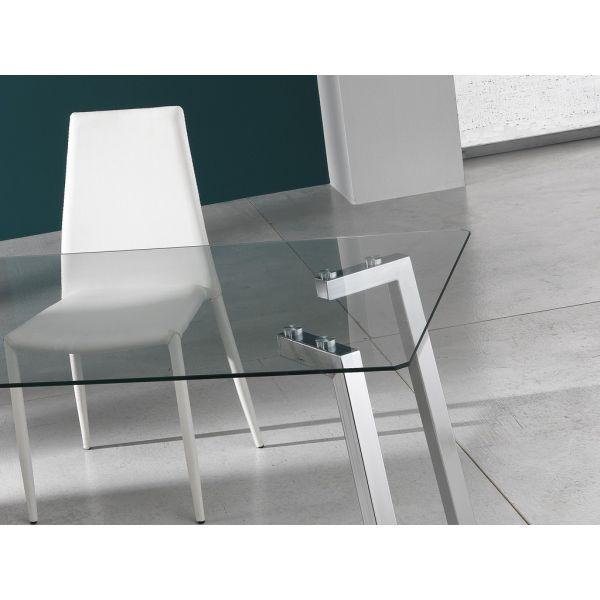 Tavolo scrivania bertrand in metallo cromato e vetro 140 for Scrivania vetro ufficio