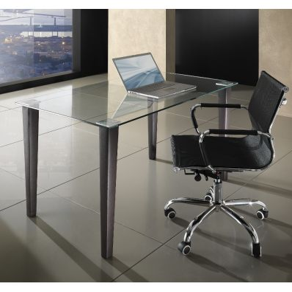 Scrivania tavolo in vetro metallo e pelle 130 x 80 cm Ludovic